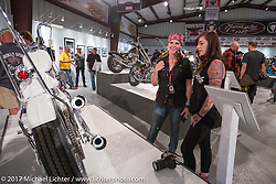 Savannah Rose talks about her bike at the Old Iron - Young Blood exhibition media and industry reception in the Motorcycles as Art gallery at the Buffalo Chip during the annual Sturgis Black Hills Motorcycle Rally. Sturgis, SD. USA. Sunday August 6, 2017. Photography ©2017 Michael Lichter.