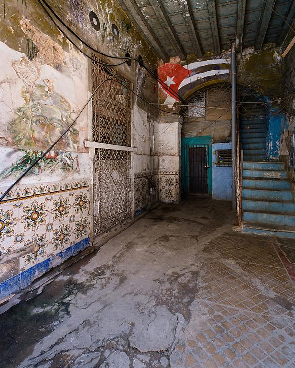 HAVANA, CUBA - CIRCA JANUARY 2020: Entrance to old building in Havana.