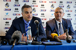 New Bristol Rovers club President Wael Al-Qadi and his brother Sam Al-Qadi address the media at a press conference to announce that Bristol Rovers has been aquired by the Jordanian Al-Qadi Family who have taken a 92 percent stake in the club - Mandatory byline: Rogan Thomson/JMP - 07966 386802 - 19/02/2016 - FOOTBALL - Memorial Stadium - Bristol, England - Bristol Rovers New Owners.
