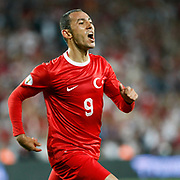 Turkey's Umut Bulut celebrates his goal during their FIFA World Cup 2014 qualifying soccer match Turkey betwen Estonia at Sukru Saracoglu stadium in Istanbul September 11, 2012. Photo by TURKPIX
