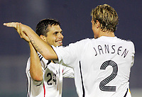 Serravalle 06/9/2006<br /> Match of Qualify European Football 2008 SanMarino-Germany<br /> Germany Marcell Jansen celebrate Manuel Friedrich after the goal<br /> Photo Luca Pagliaricci Inside