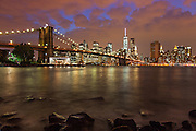 The Brooklyn Bridge and Manhattan Skyline at Dusk