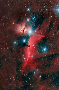 Flame nebula, the emission nebula IC434 and the dark Horsehead Nebula just south of the bright star Alnitak in constellation Orion.