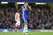 Diego Costa of Chelsea reacts in frustration after shooting wide of goal. Premier league match, Chelsea v Stoke city at Stamford Bridge in London on Saturday 31st December 2016.<br /> pic by John Patrick Fletcher, Andrew Orchard sports photography.