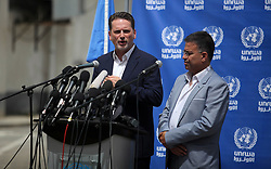 May 23, 2019 - Gaza City, Gaza Strip, Palestinian Territory - Commissioner-General of the UN Relief and Works Agency (UNRWA) Pierre Krahenbuhl speaks during a press conference, in Gaza city on May 23, 2019  (Credit Image: © Mahmoud Ajjour/APA Images via ZUMA Wire)