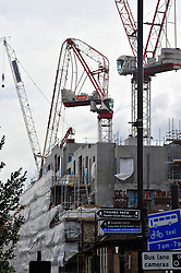 © Licensed to London News Pictures. 28/03/2016<br /> A building site crane has been bent in half at Creek Road (A200) Greenwich, London by Storm Katie.<br /> Winds up to 80 mph have battered the UK over night.<br /> <br />  (Byline:Grant Falvey/LNP)