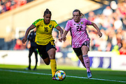 Erin Cuthbert (#22) of Scotland takes on Dominique Bond-Flasza (#16) of Jamaica during the International Friendly match between Scotland Women and Jamaica Women at Hampden Park, Glasgow, United Kingdom on 28 May 2019.