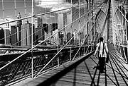 Brooklyn bridge with World Trade Towers. New York, USA, 1986