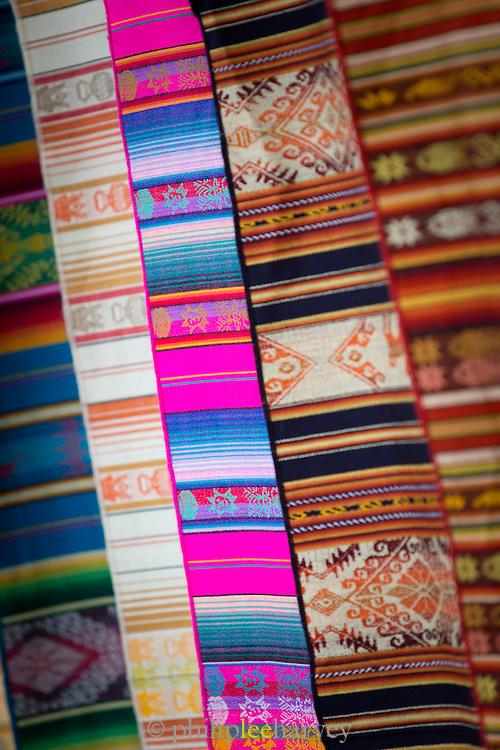 Coloured rugs for sale, Otavalo Market , Ecuador, South America