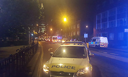 Police vehicles in a street near London Bridge during the ongoing terrorist incidents at London Bridge and Borough Market.