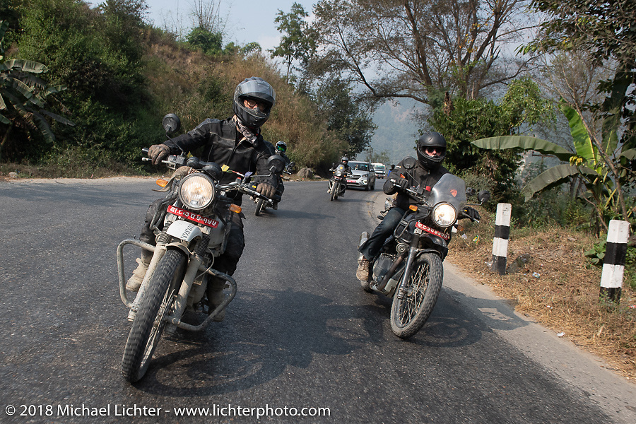 Corey Froschheuser (L) and Denver Joe Hicks on day-9 of our Himalayan Heroes adventure riding from Pokhara to Nuwakot, Nepal. Wednesday, November 14, 2018. Photography ©2018 Michael Lichter.