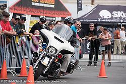 Rob Grimsley of Harley-Davidson demonstrates police skills at the Harley-Davidson foot print at the Daytona International Speedway during Daytona Bike Week's 75th Anniversary event. FL, USA. Saturday March 12, 2016.  Photography ©2016 Michael Lichter.