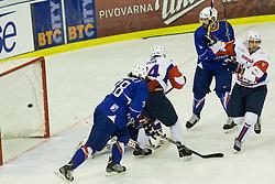 Ziga Pance of Slovenia scoring first goal during ice-hockey match between Slovenia and France in Slovenia Euro ice hockey challenge, on November 9, 2012 at Hala Tivoli, Ljubljana, Slovenia. (Photo By Grega Valancic / Sportida)