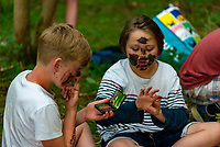 kids learning about Camouflage at the Also Festival 2021 at Cpmton Verney,photo by Mark Anton Smith<br /> .