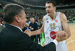 Zoran Jankovic, mayor of Ljubljana and Goran Jagodnik of Olimpija celebrate after winning the basketball match between KK Union Olimpija (SLO) and Efes Pilsen (Tur) in Group D of Turkish Airlines Euroleague, on October 20, 2010 in SRC Stozice, Ljubljana, Slovenia. Union Olimpija defeated Efes Pilsen after 2 overtimes 95 - 90.(Photo By Vid Ponikvar / Sportida.com)