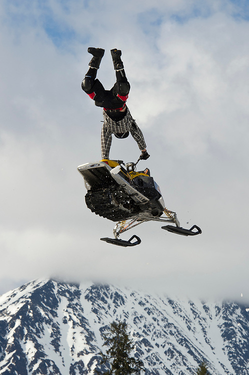 Alaska, Girdwood, Alyeska Resort, AMMC, Moto Madness event in April each year brings snowmachiners out to race and perform huge jumps.