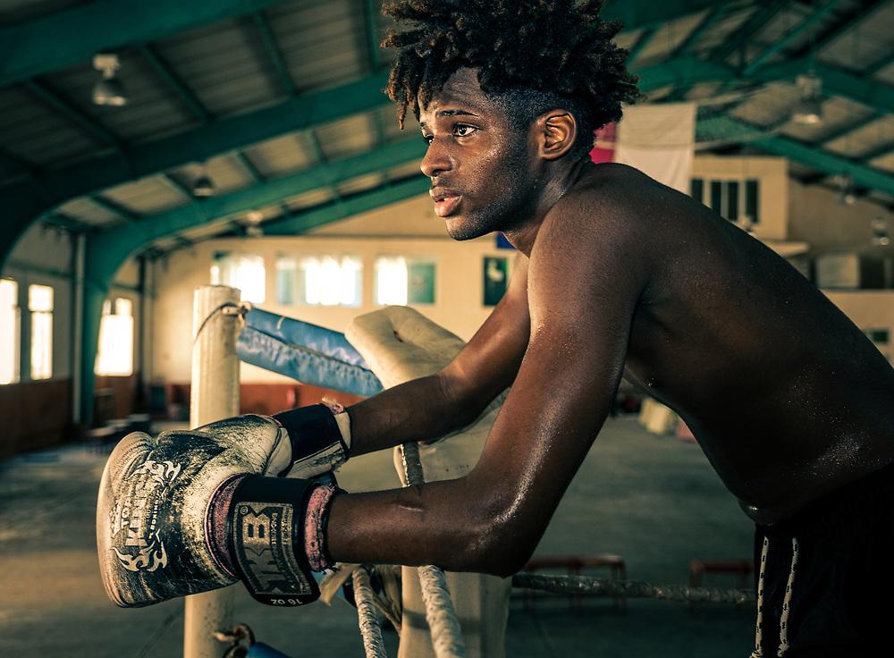 HAVANA, CUBA - CIRCA JANUARY 2020: Portrait of a boxer in Havana.