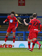 GOAL 2-1 Wigan Athletic striker Callum Lang celebrates scoring during the EFL Sky Bet League 1 match between Rochdale and Wigan Athletic at the Crown Oil Arena, Rochdale, England on 16 January 2021.