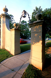 Stock photo of the Kirby drive entrance gates to the River Oaks community, Houston, Texas