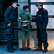 Police officers arrested a white teenager, who said to be a supporter of the BLM at Piccadilly Circus, in central London, Saturday, June 13, 2020. British police have imposed strict restrictions on groups protesting in London Saturday in a bid to avoid violent clashes between protesters from the Black Lives Matter movement and far-right groups that gathered to counter-protest.<br /> Anger against systemic levels of institutional racism has raged through the city, and worldwide; sparked by the death of George Floyd, who was killed in Minneapolis, US, by a policeman who restrained him with force on 25 May 2020. (Photo/ Vudi Xhymshiti)