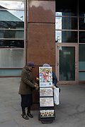 A mobile rack of Jehovas Witness pamphlets outside Elephant & Castle station, on 20th October 2017, in London, England.