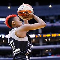 25 May 2014: San Antonio Stars guard Danielle Robinson (13) takes a jumpshot during the Los Angeles Sparks 83-62 victory over the San Antonio Stars, at the Staples Center, Los Angeles, California, USA.