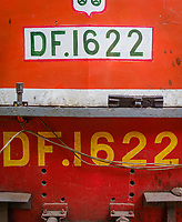 YANGON, MYANMAR - CIRCA DECEMBER 2017: Close up photo of train motor locomotive from the Yangon Circular Railway