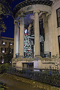 Christmas tree on the balcony of a historic home in Savannah, GA.