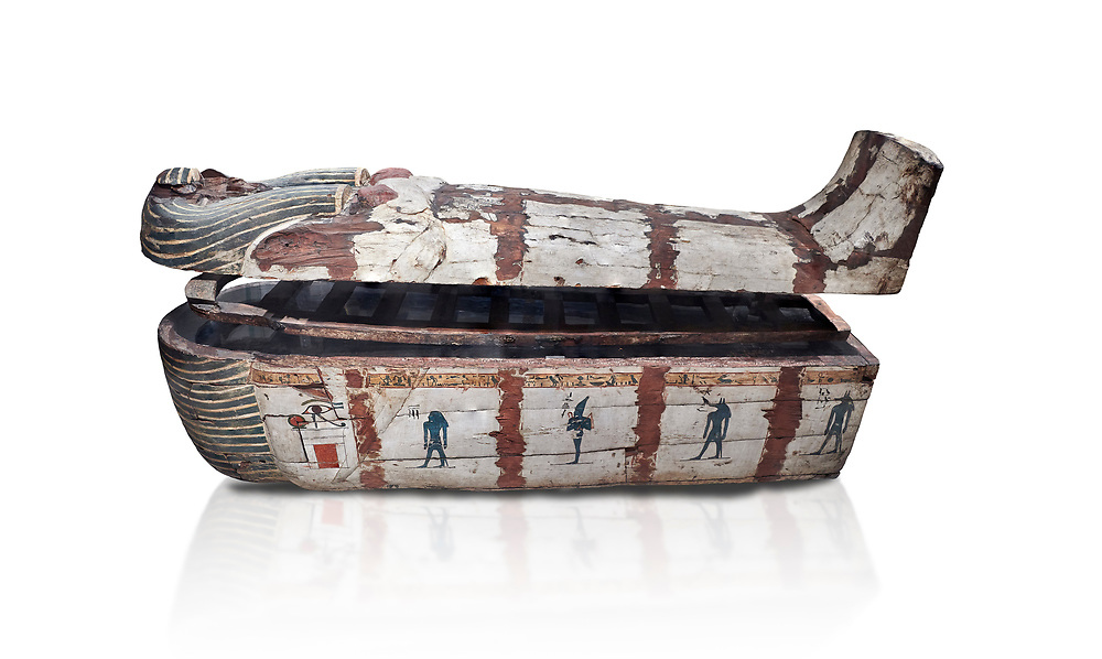 """Ancient Egyptian wooden sarcophagus - the coffin of Puia circa 1800BC - Thebes Necropolis. Egyptian Museum, Turin. white background<br /> <br /> From about 100BC """"anthropoid """" sarcophagi with fihure shaped lids started to replace rectangular coffins. Pia was probably the son of Puyemre, a high official of Thebes and second priest of Amon under the woman pharoah, Hatshepsut (1479-1458). The sarcophagus was excavated by Robert Mond from a shaft grave found close to the tomb of Puyemre in Thebes Necropolis. .<br /> <br /> If you prefer to buy from our ALAMY PHOTO LIBRARY  Collection visit : https://www.alamy.com/portfolio/paul-williams-funkystock/ancient-egyptian-art-artefacts.html  . Type -   Turin   - into the LOWER SEARCH WITHIN GALLERY box. Refine search by adding background colour, subject etc<br /> <br /> Visit our ANCIENT WORLD PHOTO COLLECTIONS for more photos to download or buy as wall art prints https://funkystock.photoshelter.com/gallery-collection/Ancient-World-Art-Antiquities-Historic-Sites-Pictures-Images-of/C00006u26yqSkDOM"""