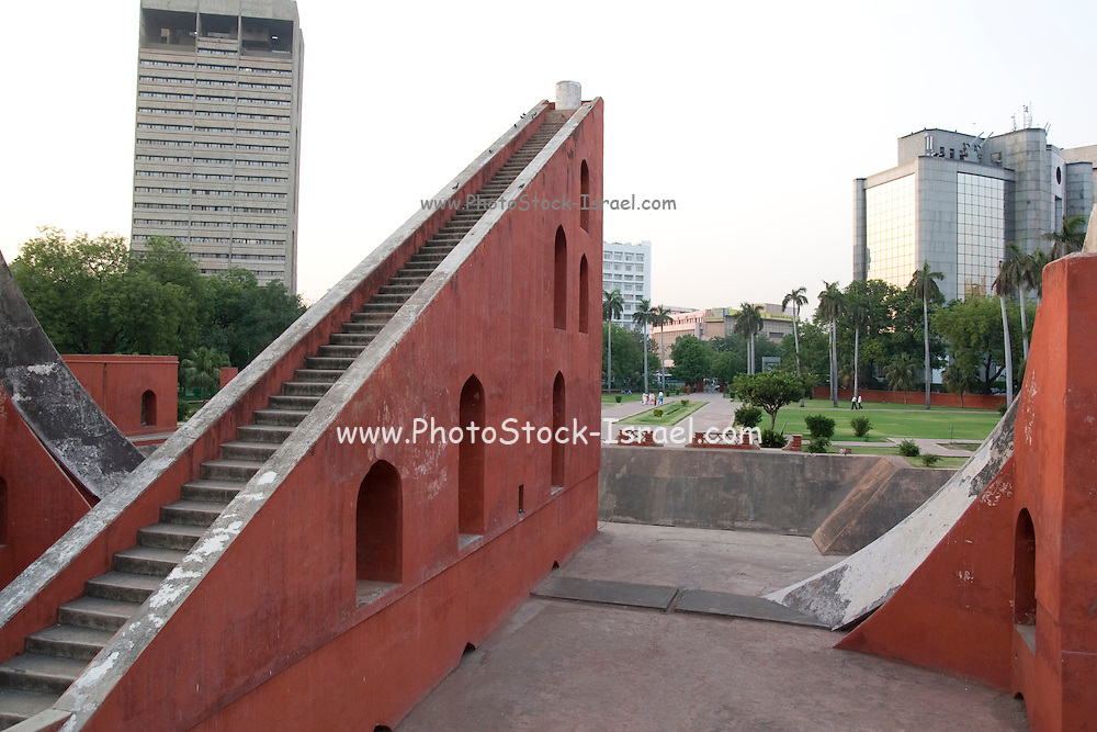 India, Delhi, The Jantar Mantar Observatory. Samrat Yantra: Measurement of local time and the declination of the sun.