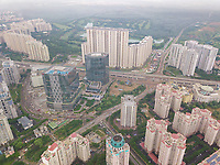 Aerial view of tall residential buildings in DLF City Phase 5 of Gurgaon, Delhi ncr region of India.