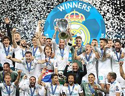 May 26, 2018 - Kiev, Ukraine - Sergio Ramos of Real Madrid lifts the trophy during the UEFA Champions League final between Real Madrid and Liverpool on May 26, 2018 in Kiev, Ukraine. (Credit Image: © Raddad Jebarah/NurPhoto via ZUMA Press)