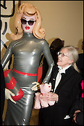 PANDEMONIA AND RITA DONAGH at the Private view for A Strong Sweet Smell of Incense<br /> A Portrait of Robert Fraser, Curated by Brian Clarke. Pace Gallery. 6 Burlington Gardens. London. 5 February 2015.