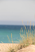 View of beach with sea in background, Cadiz, Andalusia, Spain