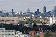 Aerial view of south London borough of Lambeth looking from Camberwell towards St Paul's Cathedral and Westminster.