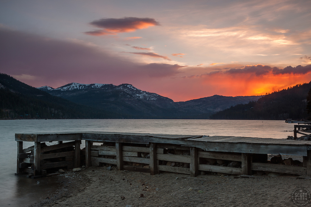 """""""Donner Lake Sunset 22"""" - Photograph of a dock along the shot of Donner Lake in Truckee, California at sunset."""