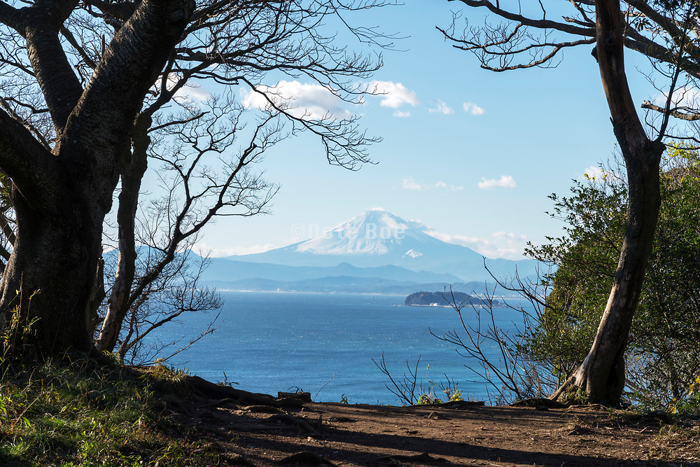 Mt Fuji  with Enoshima island seen from Zushi