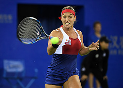 WUHAN, Sept. 27, 2017 Dominika Cibulkova of Slovakia returns the ball during the singles third round match against Caroline Garcia of France at 2017 WTA Wuhan Open in Wuhan, capital of central China's Hubei Province, on Sept. 27, 2017. Dominika Cibulkova lost 0-2.  wdz) (Credit Image: © Cheng Min/Xinhua via ZUMA Wire)