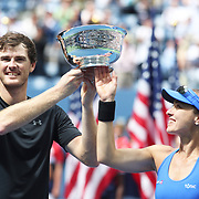 2017 U.S. Open Tennis Tournament - DAY THIRTEEN. Martina Hingis of Switzerland and Jamie Murray of Great Britain with the winners trophy after winning the Mixed Doubles Final against Hao-Ching Chan of Chinese Taipei and Michael Venus of New Zealand at the US Open Tennis Tournament at the USTA Billie Jean King National Tennis Center on September 09, 2017 in Flushing, Queens, New York City.  (Photo by Tim Clayton/Corbis via Getty Images)