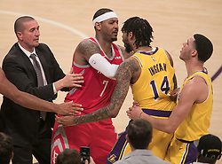 October 20, 2018 - Los Angeles, California, U.S - Brandon Ingram #14 of the Los Angeles Lakers is held back by Lonzo Ball #2 as he gets pushed around by Carmelo Anthony #7 of the Houston Rockets on Saturday October 20, 2018 at the Staples Center in Los Angeles, California. Rondo and Paul were ejected. (Credit Image: © Prensa Internacional via ZUMA Wire)