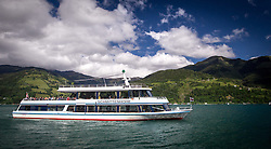 """THEMENBILD - Ausflugsboot MS Schmittenhöhe am Zeller See, aufgenommen am 30. Mai 2014 in Zell am See, Österreich // THEMES Picture - Zell am See - Kaprun. The excursion ship """"MS Schmittenhoehe"""" on Lake Zell, at the Zeller See, Picture taken on May 5, 2014 in Zell am See, Austria. EXPA Pictures © 2014, PhotoCredit: EXPA/ JFK"""