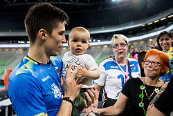 Klemen Cebulj of Slovenia with his child after the volleyball match between National teams of Slovenia and Portugal in 2nd Round of 2018 FIVB Volleyball Men's World Championship qualification, on May 26, 2017 in Arena Stozice, Ljubljana, Slovenia. Photo by Vid Ponikvar / Sportida