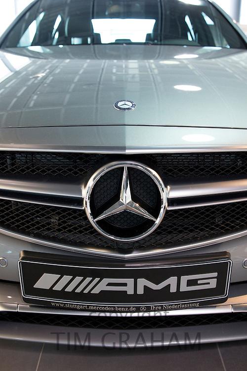 Mercedes-AMG E63 AMG V8 biturbo saloon car in Mercedes-AMG showroom and gallery in Stuttgart, Bavaria, Germany