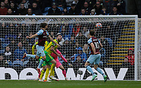 Football - 2021 / 2022 Premier League - Burnley vs. Norwich City - Turf Moor - Saturday 2nd October 2021<br /> <br /> Jay Rodriguez of Burnley gets in a header from a corner but it goes over the crossbar and the game finishes in a 0-0 draw, at Turf Moor.<br /> <br /> <br /> COLORSPORT/ALAN MARTIN