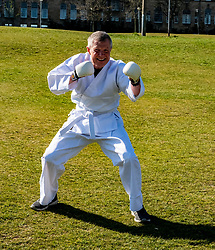 Pictured: <br />Scottish Liberal Democrat Leader Willie Rennie took some karate lessons before criticising the SNP 's record in Government. <br />Ger Harley | EEm 23 April 2021