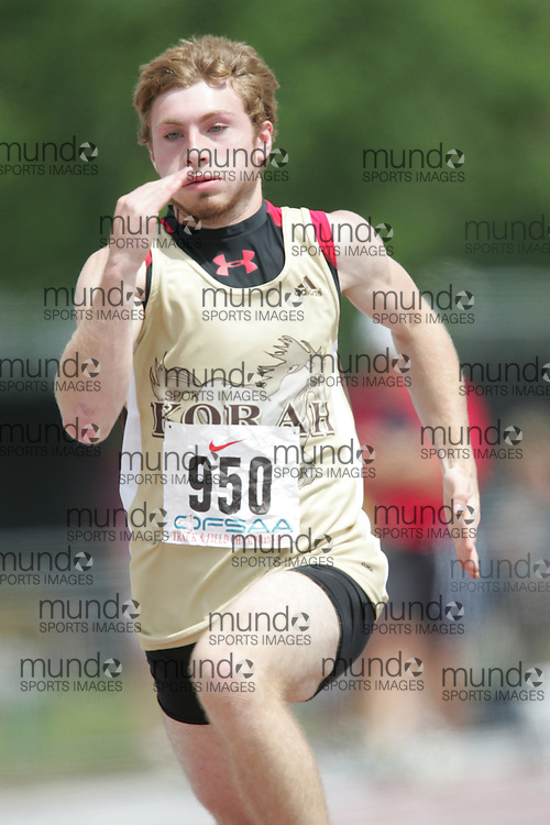 (London, Ontario}---04 June 2010) Corey Conforzi of Korah - SS Marie competing in the 100 meters at the 2010 OFSAA Ontario High School Track and Field Championships. Photograph copyright Sean Burges / Mundo Sport Images, 2010.