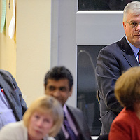 021214       Cable Hoover<br /> <br /> Rehoboth McKinley Christian Hospital CEO Barry Mousa sits behind a group of community leaders during a town hall meeting at Miyamura High School in Gallup Wednesday.