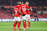 Middlesbrough forward Britt Assombalonga (9) celebrates after scoring his team's fourth goal during the The FA Cup 3rd round match between Middlesbrough and Peterborough United at the Riverside Stadium, Middlesbrough, England on 5 January 2019.