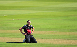 Craig Overton of Somerset reacts to a chance.  - Mandatory by-line: Alex Davidson/JMP - 17/08/2016 - CRICKET - Cooper Associates County Ground - Taunton, United Kingdom - Somerset v Worcestershire Rapids - Royal London One Day Cup Quarter Final