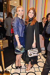 Left to right, NATALIE DORMER and ROSE LESLIE at the opening party of the new Kate Spade New York store at 182 Regent Street, London on 21st April 2016.